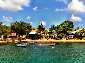 Beach shacks and boats, Curacao
